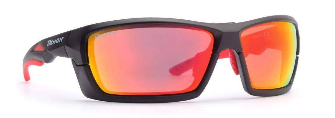 occhiale sportivo multisport con lenti specchiate nero opaco