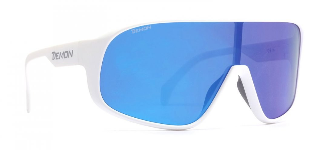 occhiale a mascherina per bici da corsa e mtb con lente polarizzata colore bianco