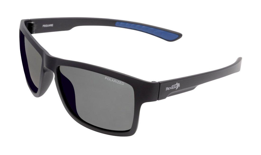 occhiale quadrato fashion moda con lenti polarizzate nero opaco blu