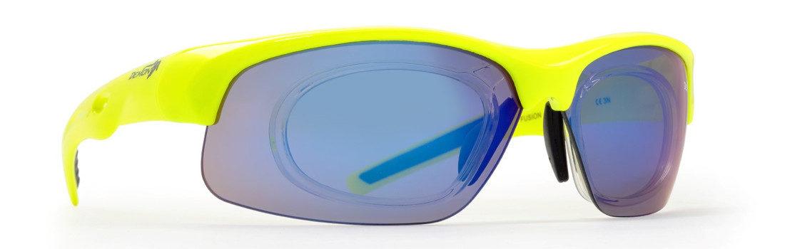 occhiale sportivo da vista giallo fluo per mtb lenti graduate