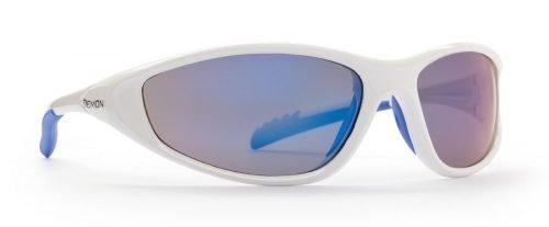 occhiale sportivo per bambini bianco con lenti specchiate blu modello kid 5