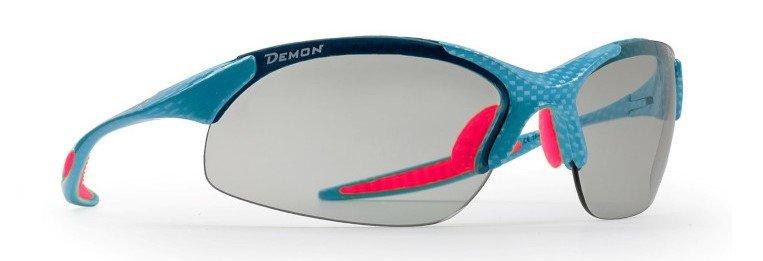 occhiale sportivo da donna lenti fotocromatiche dchrom carbonio azzurro fucsia