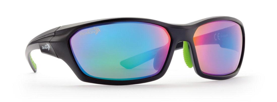 occhiale sportivo da donna con lenti specchiate nero lucido
