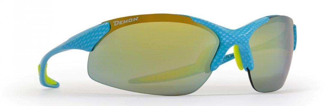 occhiale sportivo da donna ultraleggero carbonio azzurro giallo