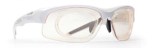 occhilale sportivo da vista bianco con lenti fotocromatiche fumo