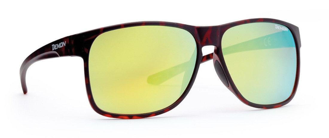 occhiale di moda sportivo con lenti specchiate gialle