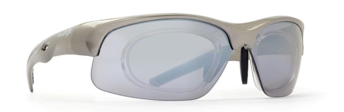 occhiale sportivo graduato con lenti specchiate intercambiabili colore grigio