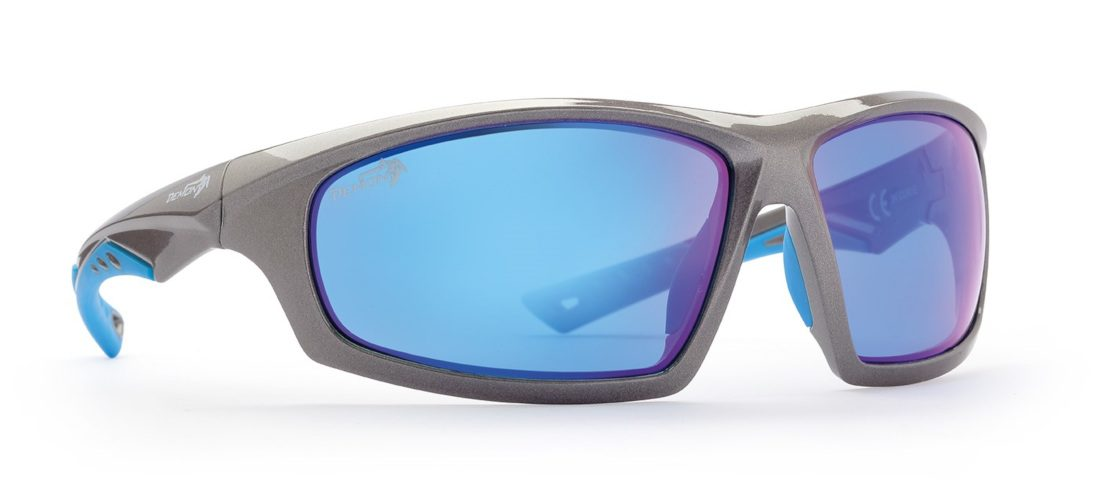 occhiale sportivo grigio lucido lenti specchio blu