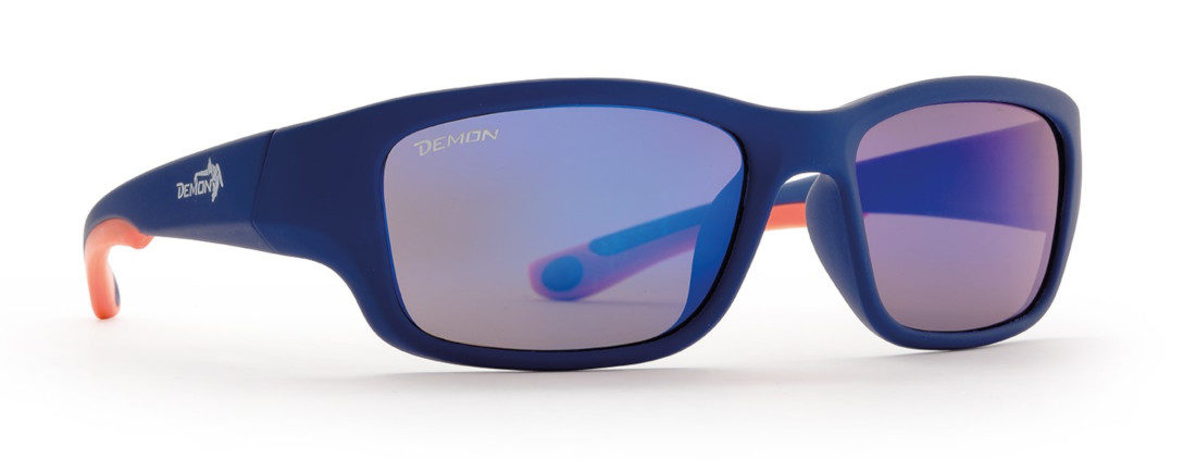 occhiale sportivo per bambini con lenti specchiate blu arancio