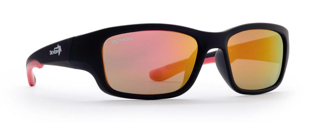 occhiale sportivo per bambini nero gommato rosso lenti specchiate rosse