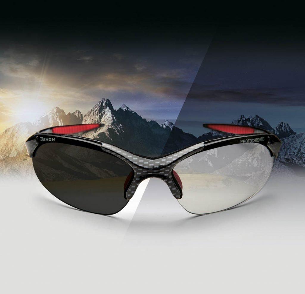 occhiale sportivo con lenti fotocromatiche dchrom modello 832 carbonio
