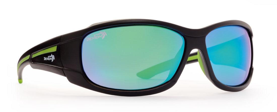 occhiale sportivo nero opaco per tutti gli sport lenti specchiate