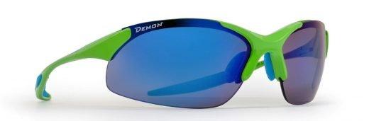 occhiale sportivo verde fluo lenti specchiate intercambiabili