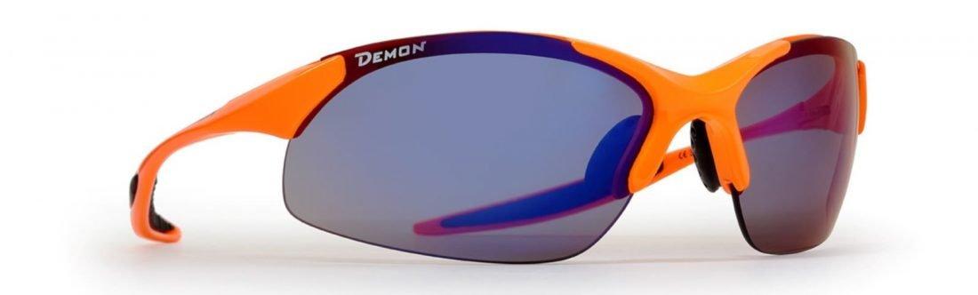 occhiale per mtb arancio fluo lenti specchiate intercambiabili