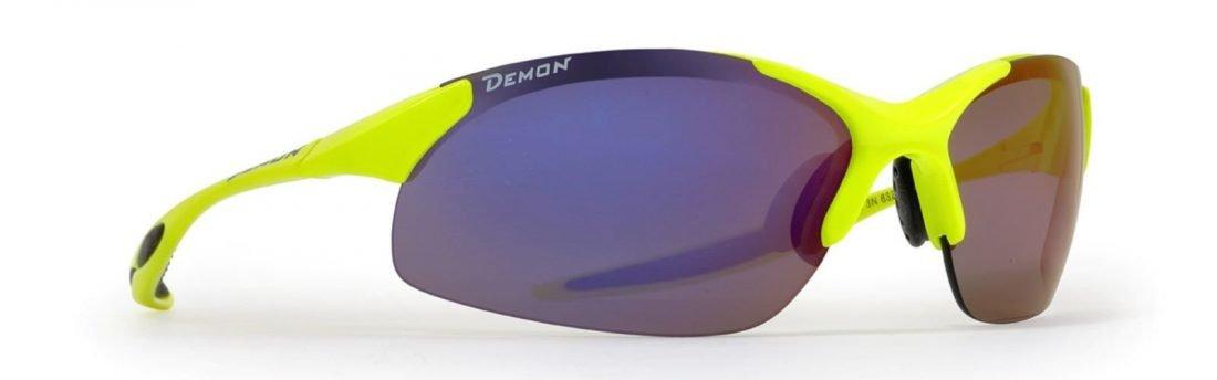 occhiale sportivo per running giallo fluo lenti specchiate intercambiabili