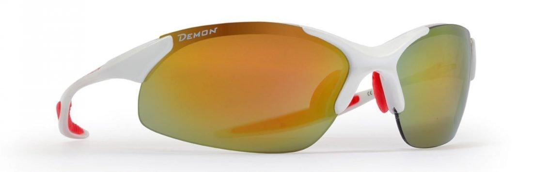 occhiale sportivo per tutti gli sport lenti specchiate intercambiabili bianco lucido