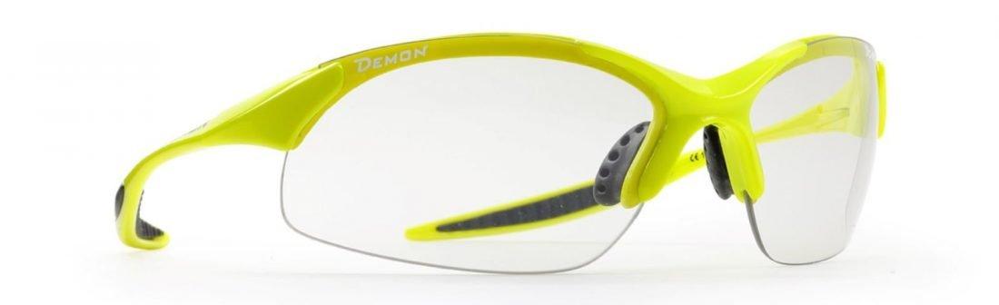 occhiale sportivo unisex per ogni sport lenti fotocromatiche giallo fluo modello 832