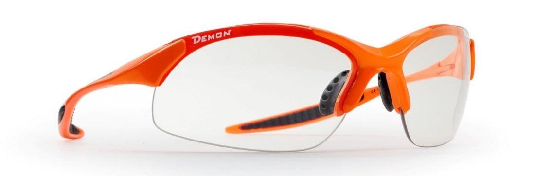 occhiale arancio fluo fotocromatico fumo per running e trail running
