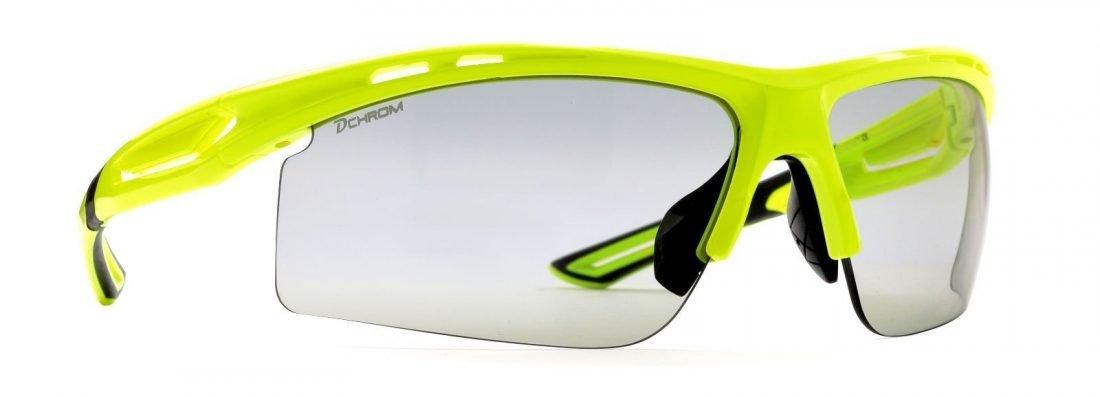 Occhiali da ciclismo e mountain bike lenti fotocromatiche dchrom modello cabana giallo fluorescente