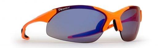 occhiali da ciclismo mtb e triathlon lenti intercambiabili ultraleggeri modello 832 arancio fluo