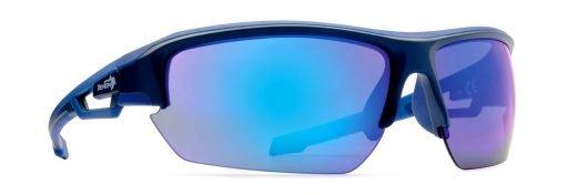 Occhiali da ciclismo su strada con lenti specchiate modello look blu gommato