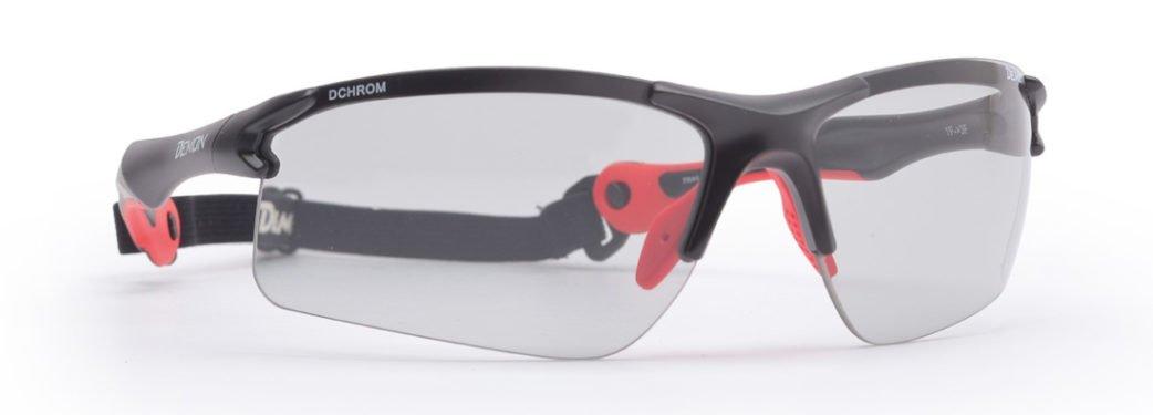Occhiali da ciclismo lenti fotocromatiche dhcrom con cordino elastico modello TRAIL nero opaco rosso