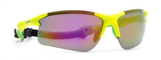 occhiale per cliclismo e running con lenti specchiate giallo fluo