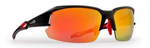 Occhiali per ciclismo e triathlon lenti specchiate intercambiabili modello tiger nero opaco rosso