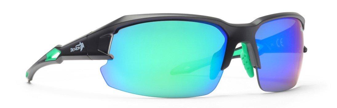 Occhiali per triathlon specchiati con lenti intercambiabili modello tiger nero opaco verde