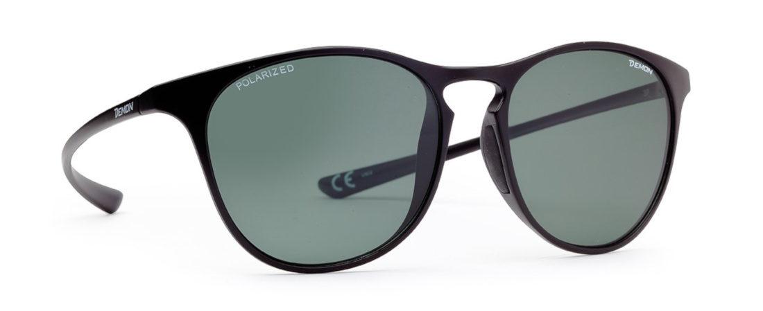 occhiali moda sport polarizzati lenti rotonde colore nero opaco