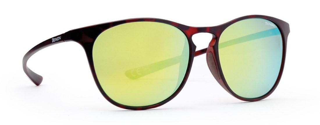 occhiali rotondi moda con lenti specchiate gialle colore marrone