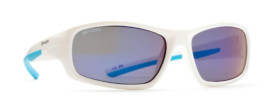 occhiali sport da bambina colore bianco lenti specchiate blu modello kid6