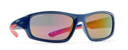 occhiali sport da bambino blu lucido rosso lenti specchiate rosse modello kid 6