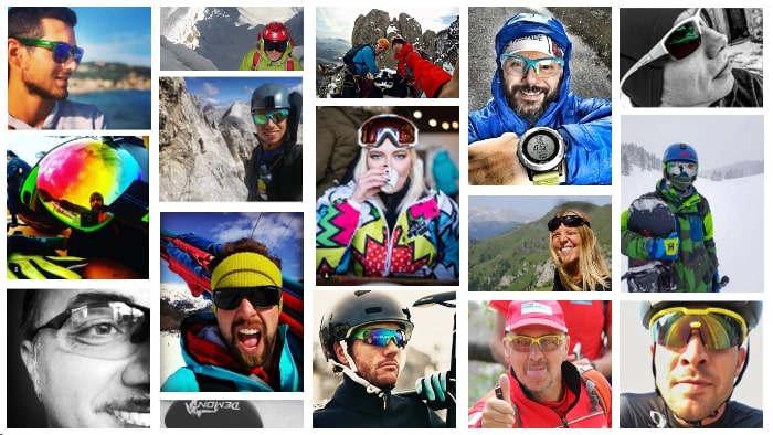 collage di selfie con altleti che indossano occhiali sportivi
