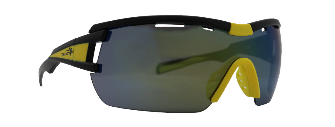 occhiale tecnico per ciclismo su strada nero giallo