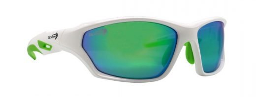 occhiale tecnico per tutti gli sport bianco lenti specchio verdi