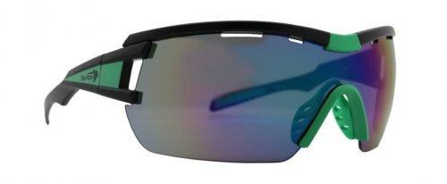 Occhiali tecnici per ciclismo su strada a mascherina modello VUELTA nero opaco verde