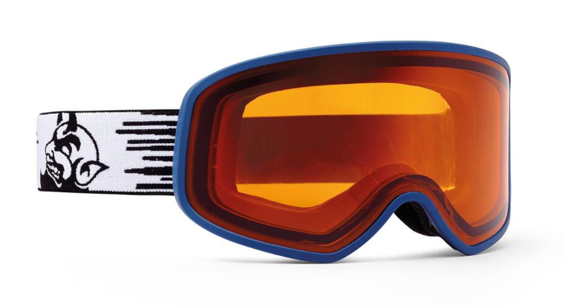 Maschera da sci con lente fotocromatica arancio blu gommata