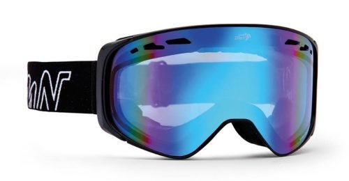 Maschera da Snowboard per occhiali da vista colore nero lente specchio blu