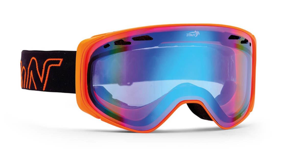 Maschera da snowboard per occhiali graduati modello BIG SKY arancio fluo