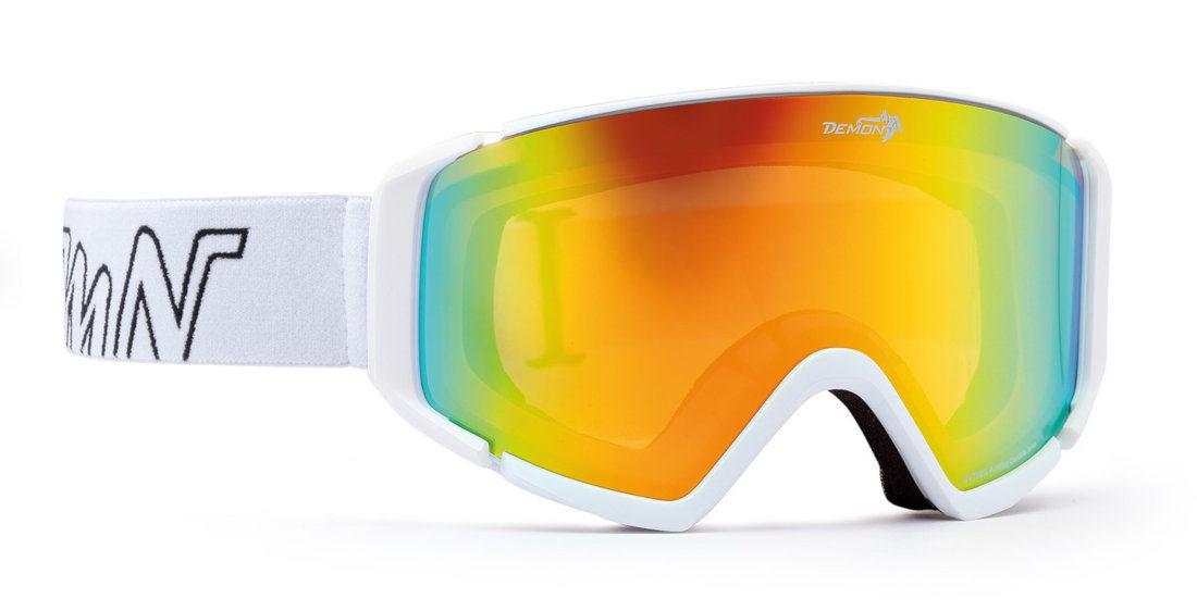 maschera per sci e snowboard con lente specchaita gialla colore bianco