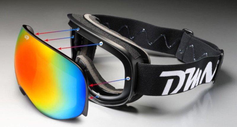 occhiali da sci con lenti intercambiabili per sci da discesa fuoripista e sicalpinismo
