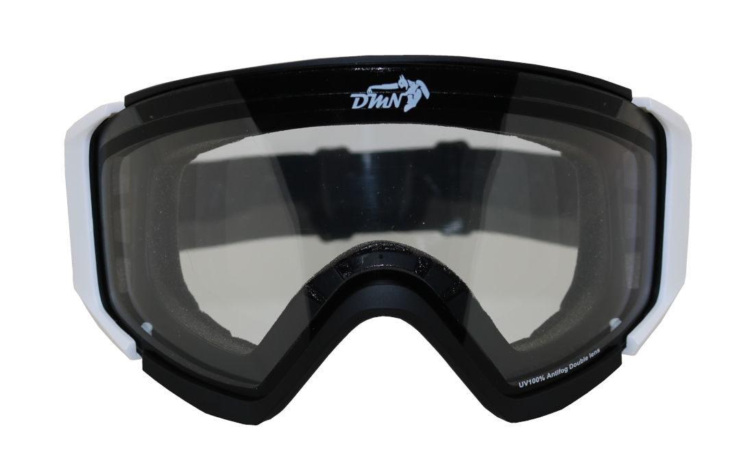 Maschera da snowboard con lente trasparente per nebbia e nevicata e sci in notturna con lente trasparente