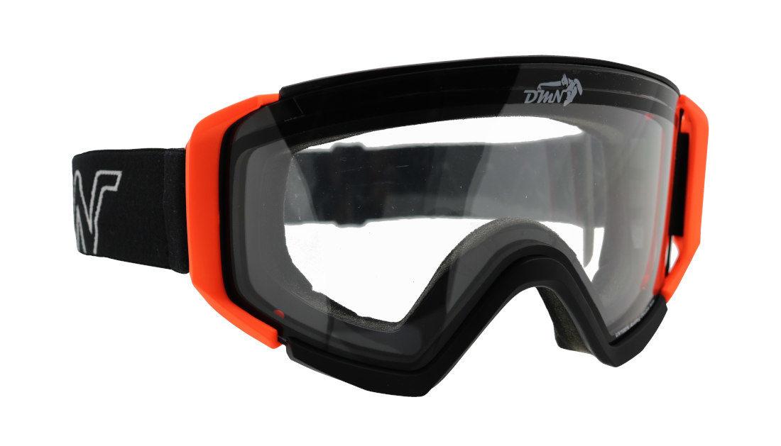 Maschera da Snowboard per notturna lente trasparente colore nero arancio