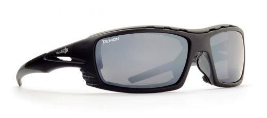 occhiali da sci con lenti specchiate categoria 4 modello outdoor nero opaco grigio