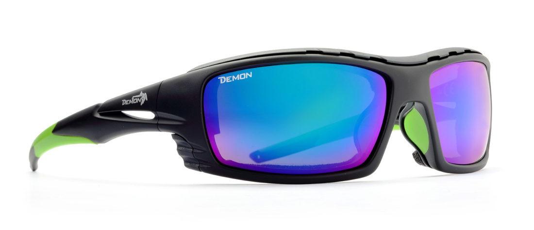 occhiali da sci con lenti specchiate categoria 4 modello outdoor nero opaco verde