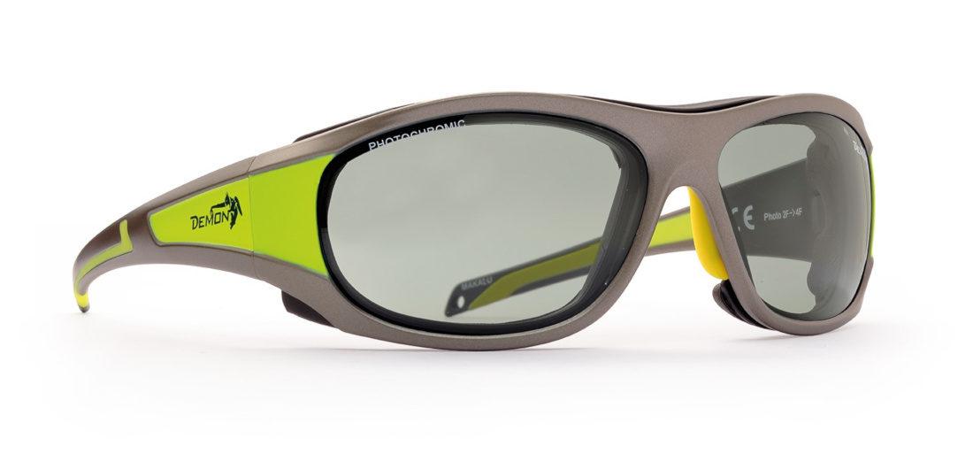 Occhiali da sci e Sci in ghiacciaio con lenti fotocromatiche modello MAKALU grigio opaco giallo fluo