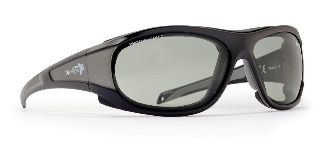 Occhiali da sci e Sci in ghiacciaio con lenti fotocromatiche modello MAKALU grigio nero opaco grigio