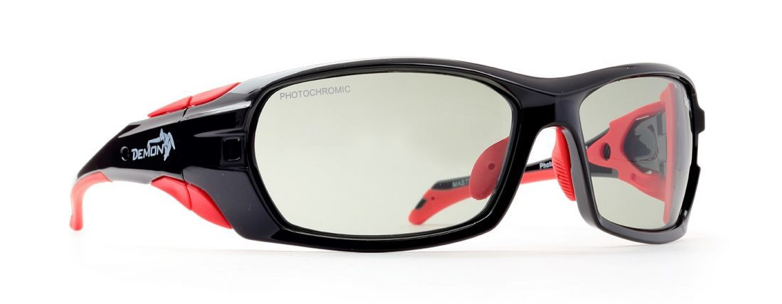 Occhiali da sci fotocromatici 2-4 modello MASTERPIECE Nero lucido Rosso