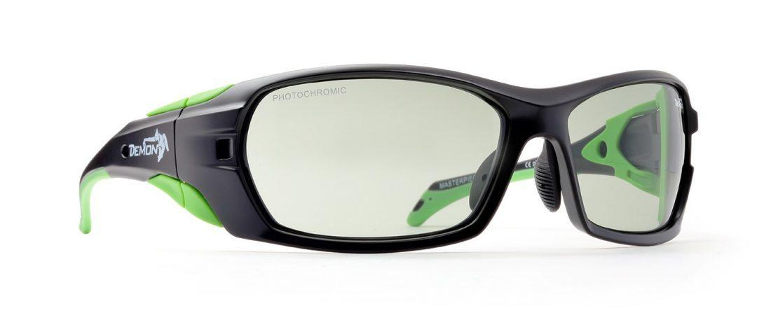 Occhiali da sci fotocromatici 2-4 modello MASTERPIECE Nero Opaco Verde